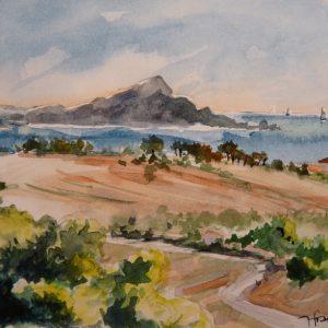 Baie de Fréjus et Pic du Cap Roux, aquarelle