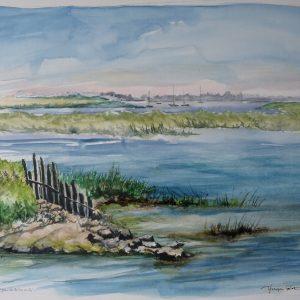 Réserve naturelle de Lilleau des Niges, aquarelle