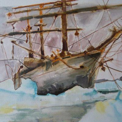 """Le """"Pourquoi-Pas"""" amarré dans l'Île Peterman, aquarelle"""