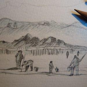 Pêcheurs à pied, première esquisse