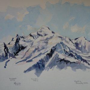 Les trois Mont-Blanc et l'Aiguille de Bionnassay, aquarelle