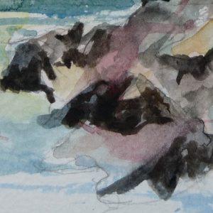 Le lac de Flaine, aquarelle (détail)
