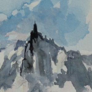 L'Aiguille du Midi, aquarelle (détail)