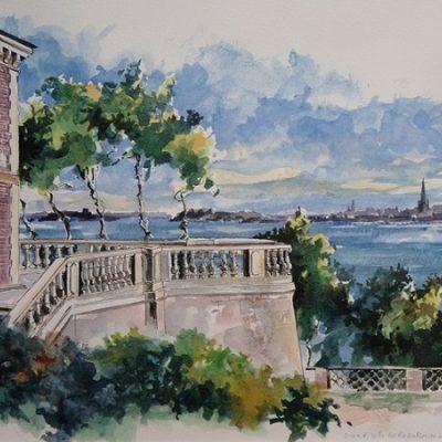 Villa des Roches Brunes, aquarelle