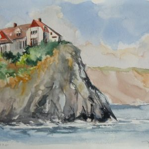 "La pointe du ""Rocher Percé"" (aquarelle, 40 x 25 cm)."