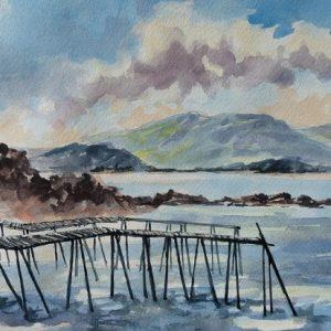 Belle Anse, Pointe Saint-Pierre : les quais où accostaient les barges chargées de morue. A l'arrière plan, la baie de Malbaie. Aquarelle (38 x 38 cm).