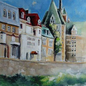 Québec : hôtels particuliers face au Saint-Laurent. Huile sur toile (50 x 65 cm).
