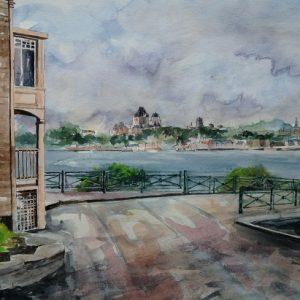 Lévis (Côte du Passage) : panorama sur le Saint-Laurent, la haute-ville intra-muros de Québec et la silhouette du Château Frontenac. Aquarelle (50 x 65 cm).