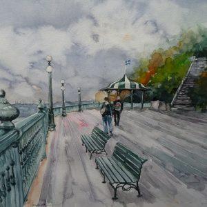 Québec : la terrasse Dufferin surplombant le Saint-Laurent. Sur la droite, l'escalier conduisant à la Promenade des Gouverneurs. Aquarelle (50 x 65 cm).
