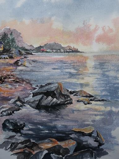 Parc National du Bic : la plage de Saint-Fabien-sur-Mer. Aquarelle (38 x 38 cm).