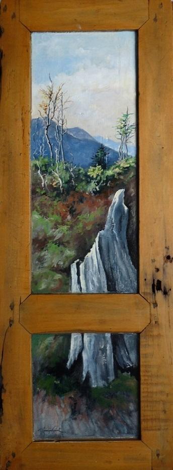 Paysage de toundra sur le Mont Ernest Laforce. Huile sur bois (36 x 90 cm).