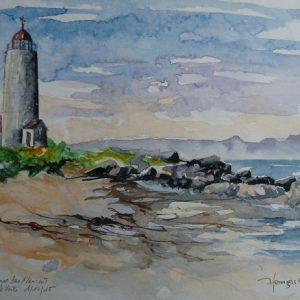 La plage du phare de l'Île Verte. Aquarelle (18 x 25 cm).