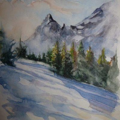 La vallée des Molliets, aquarelle