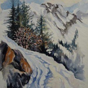Le sentier du col, aquarelle