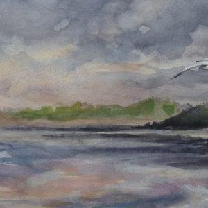 Dans la baie, aquarelle (40x20 cm).