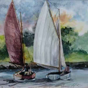 Régate matinale, aquarelle (12x12 cm).