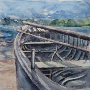 "Membrure du misainier ""Bijou Bihan"", aquarelle (30x30 cm)."