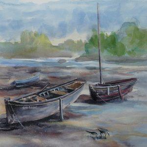 """Bijou Bihan"" et ""Avel Kornog"" à La Forêt-Fouesnant, aquarelle (30x30 cm)."
