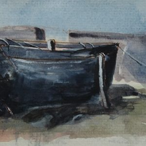 Bijou Bihan à quai, aquarelle (40x15 cm).