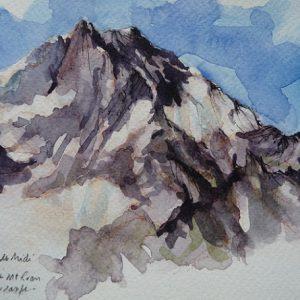 Le Mont Ruan, aquarelle (21 x 13,5 cm)