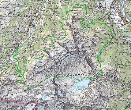 Le tour des Dents du Midi, 45 kilomètres et un dénivelé de 6000 mètres positif-négatif.