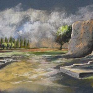 Corseul : le temple de Mars (pastel sec, premier prix Sérusier)