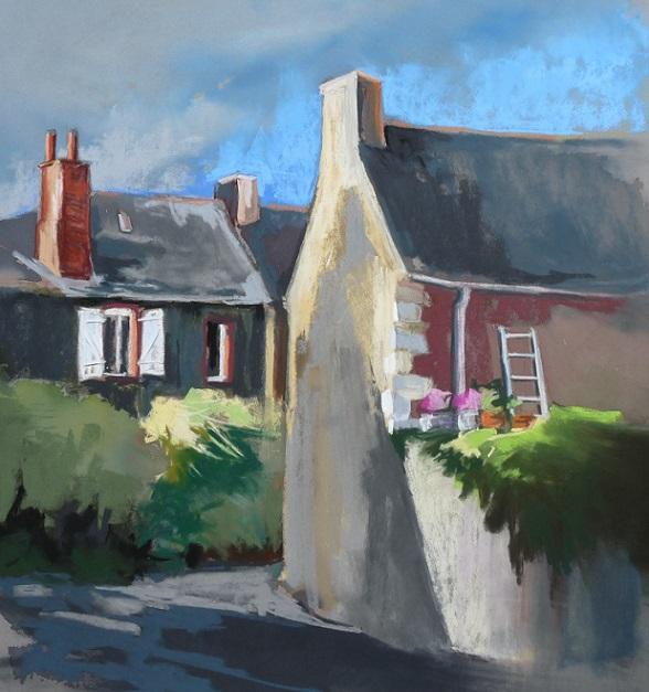 Lanvollon : rue du Colombier (pastel sec)
