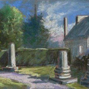 Corseul : colonnes gallo-romaine (étude préparatoire au pastel sec)