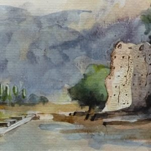 Corseul : le temple de Mars (étude préparatoire à l'encre de chine et à aquarelle)