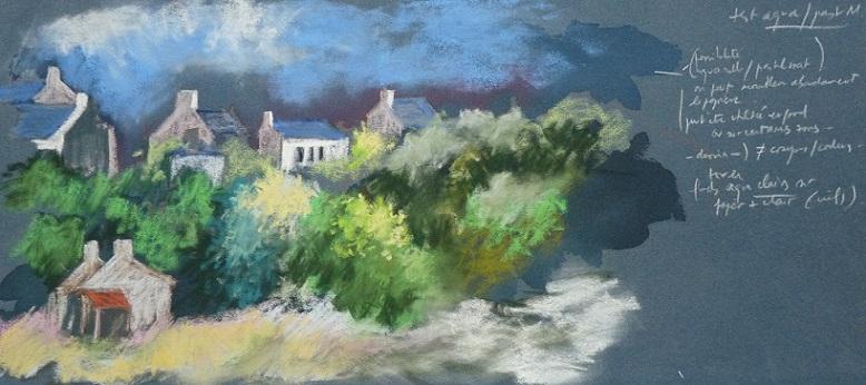 Corseul : maisons du bourg (étude préparatoire au pastel sec)