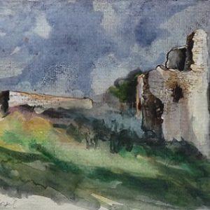Corseul : le château de Montafilant (étude préparatoire à l'encre de chine et à l'aquarelle)