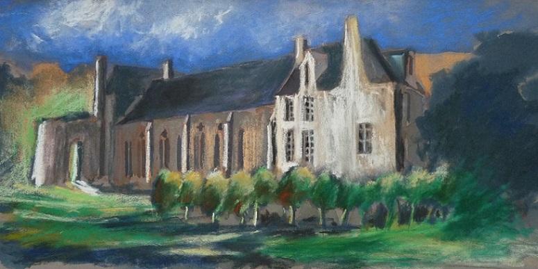 Léhon : l'Abbaye Saint-Magloire (étude préparatoire au pastel sec)