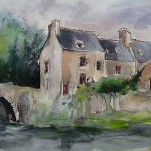 Léhon : le refuge de l'Abbé Mathurin (aquarelle)