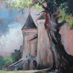 Combourg : la silhouette du Château (huile sur toile)
