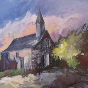 Campénéac : pause romantique à la chapelle Saint-Jean (huile sur toile, nommée par le jury)