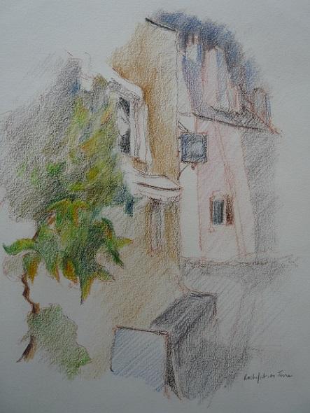 Rochefort-en-Terre : façades médiévales du village (étude préparatoire au pastel sec)