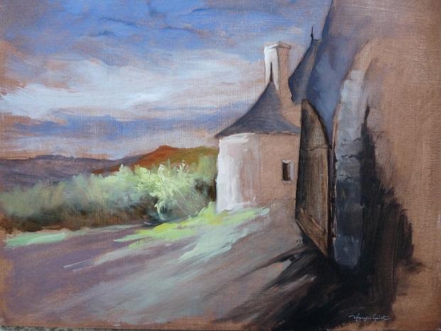 Rochefort-en-Terre : la porte du Château (étude préparatoire, huile sur carton toilé)