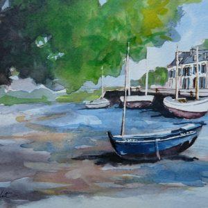 """Pont-Aven : le port et le misainier """"Les Flots Bleus"""" (étude préparatoire, aquarelle)"""