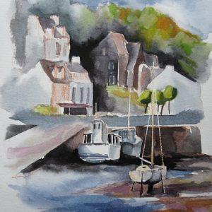 Pont-Aven : après-midi sur le port (étude préparatoire, aquarelle)