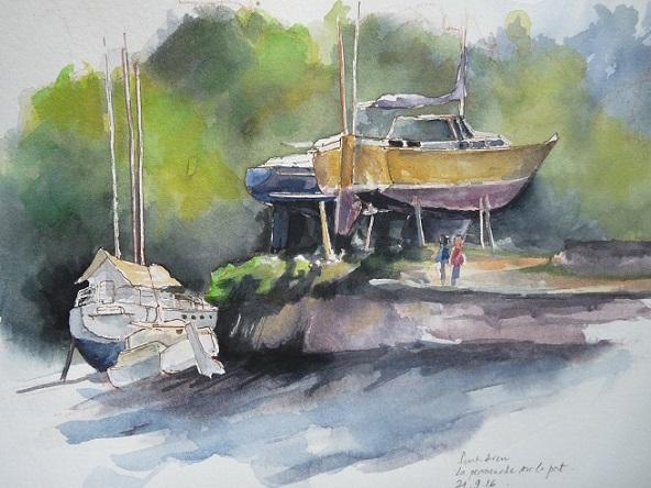 Pont-Aven : la promenade sur le port (étude préparatoire, aquarelle)