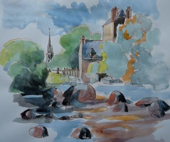 Pont-Aven : chaos de rochers sur l'Aven (étude préparatoire, encre de chine et lavis)