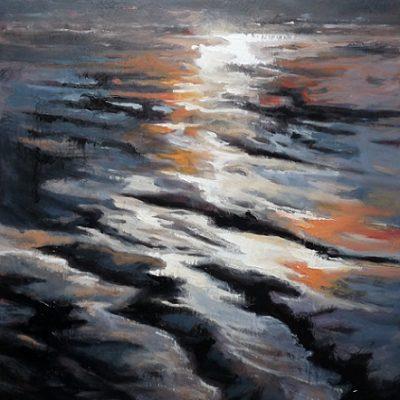 L'estran, huile sur toile (60 x 92 cm)