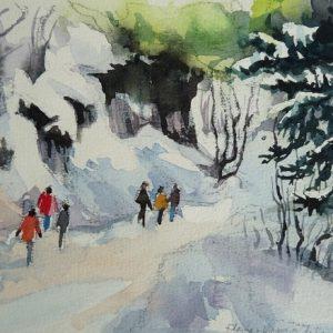 Sentier de la Combe Enverse, aquarelle