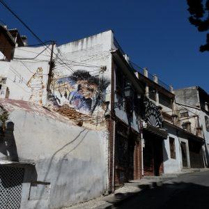 Granada : quartier de l'Albaicín, fresque en hommage au chanteur de flamenco Enrique Morente (1942-2010).