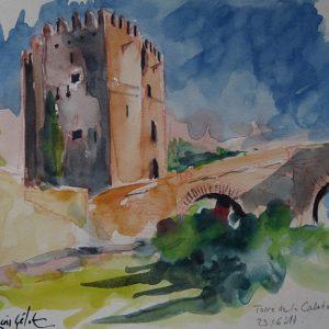 Cordoba, Torre de la Calahorra et pont romain, aquarelle