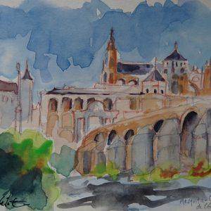 Cordoba, Mezquita-Catedral et pont romain, aquarelle
