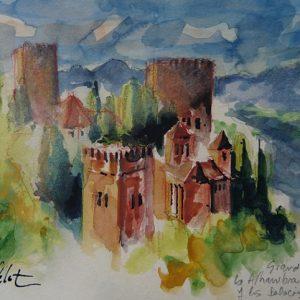 Granada, La Alhambra : les palais Nasrides, aquarelle