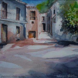 Atalbéitar (Sierra Nevada), la place du village, aquarelle