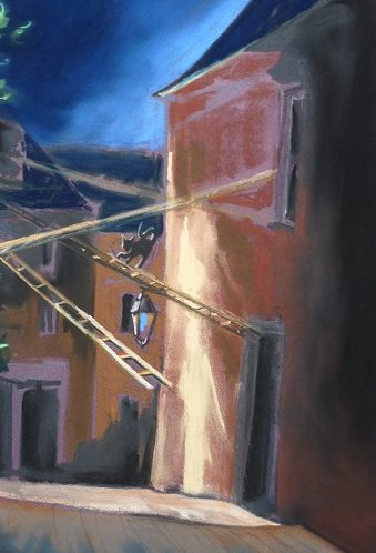 La rue du chat qui danse, pastel sec