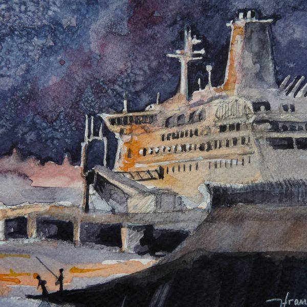 Terminal du Naye, aquarelle